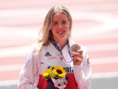 Great Britain's Keely Hodgkinson with the silver medal (Martin Rickett/PA)