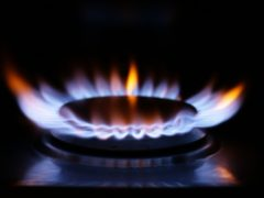 A lit ring on a gas hob at a home in north London (Yui Mok/PA)