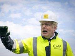 Prime Minister Boris Johnson onboard the Esvagt Alba during a visit to the Moray Offshore Windfarm East (PA).