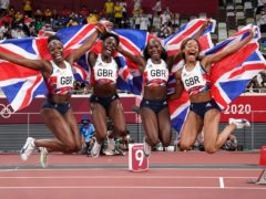 Great Britain's Dina Asher-Smith, Imani Lansiquot, Daryll Neita and Asha Philip celebrate bronze in the women's 4x100m final (Mike Egerton/PA)