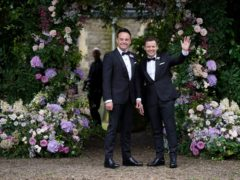 Ant McPartlin, with Declan Donnelly (right), arriving at St Michael's church (Kirsty O'Connor/PA)