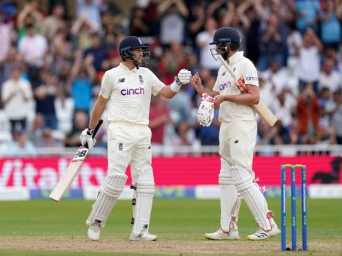 England's Joe Root and Dom Sibley stood firm against India (Tim Goode/PA)