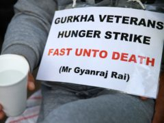 Gurkha veterans are on hunger strike in a protest outside Downing Street (Hollie Adams/PA)