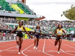 Jamaica's Elaine Thompson-Herah (left) takes victory in 10.54 seconds (Thomas Boyd/AP)