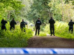 Police officers searching the land at Sand Hutton Gravel Pits near York in connection with the disappearance of missing university chef Claudia Lawrence. Ms Lawrence went missing 12 years ago and police believe she was murdered, although no body has ever been found.