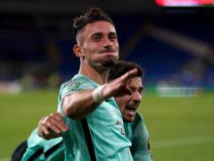 Brighton striker Andi Zeqiri celebrates scoring during the Carabao Cup win at Cardiff (David Davies/PA)