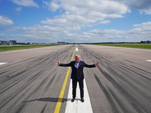 Gatwick Airport chief executive Stewart Wingate on the tarmac of the northern runway (Yui Mok/PA)