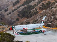 A Boeing 707 aircraft has been converted to a cafe, in Wadi Al-Badhan, just outside the West Bank city of Nablus (Majdi Mohammed/AP)
