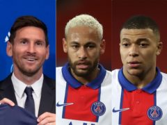 Lionel Messi, Neymar and Kylian Mbappe will form a formidable front three for PSG (AP/PA)