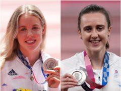 Keely Hodgkinson, left, and Laura Muir celebrate silver medals in Tokyo (Martin Rickett/Joe Giddens/PA)