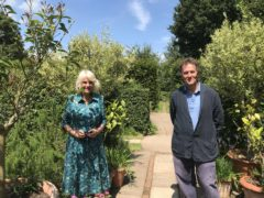 Monty Don welcomes the Duchess of Cornwall to Longmeadow (BBC/PA)