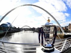 The Rugby League World Cup trophy, pictured in Newcastle – the city which will stage the opening game of the tournament (Simon Wilkinson/PA)