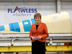 First Minister Nicola Sturgeon visits Spirit AeroSystems near Prestwick Airport in Ayrshire (John Linton/PA)