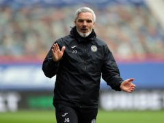 Jim Goodwin was not happy over his side's disallowed goal (Jane Barlow/PA)