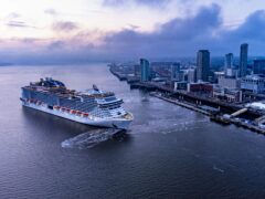 The MSC Virtuosa cruise ship leaves Liverpool Cruise Terminal (Pete Byrne/PA)