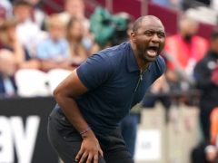 Crystal Palace boss Patrick Vieira will face Tottenham for the first time as a manager on Saturday (Jonathan Brady/PA)