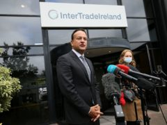 Tanaiste and Minister for Enterprise, Trade and Employment Leo Varadkar speaks to the media during a visit to InterTradeIreland's offices in Newry (Brian Lawless/PA)