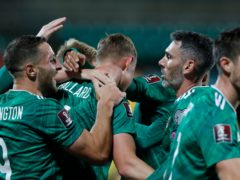 Northern Ireland celebrated a 4-1 win over Lithuania in Vilnius (Mindaugas Kulbis/AP)