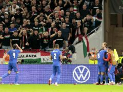 England celebrate Raheem Sterling's opening goal in Budapest (Attila Trenka/PA).