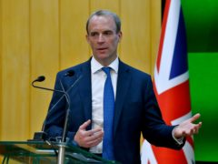 Foreign Secretary Dominic Raab speaks during a press conference with Pakistan's foreign minister Shah Mahmood Qureshi after their meeting in Islamabad (Anjum Naveed/AP)