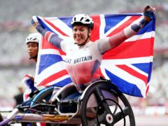 Great Britain's Hannah Cockroft celebrates after winning the Women's 800m T34 Final at the Olympic Stadium during day eleven of the Tokyo 2020 Paralympic Games (John Walton/PA)