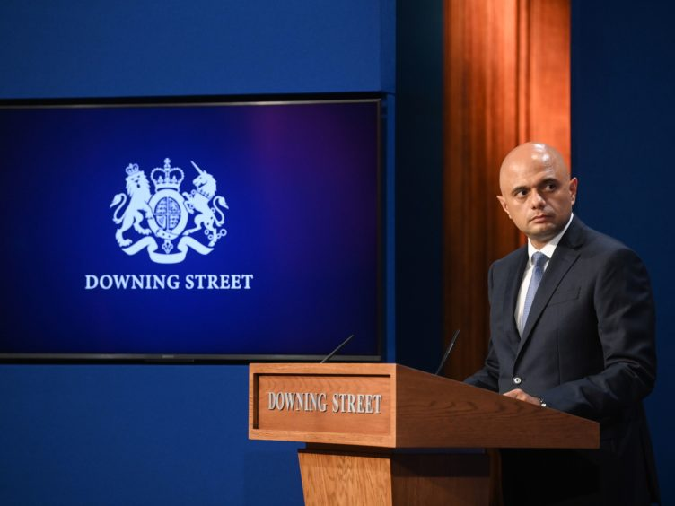 Health Secretary Sajid Javid during a media briefing in Downing Street (Toby Melville/PA)