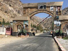 A Taliban soldier guards the Panjshir gate in Panjshir province (Mohammad Asif Khan/AP)