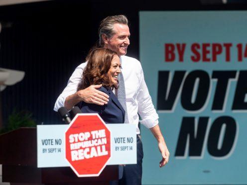 Vice President Kamala Harris joins California governor Gavin Newsom rallying against the California gubernatorial recall election (Noah Berger/AP)