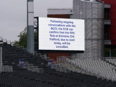 A message displayed at Emirates Old Trafford after the fifth Test between England and India was abandoned over Covid concerns (Martin Rickett/PA)