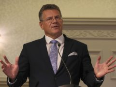 European Commission vice-president Maros Sefcovic during a press conference in Belfast (Brian Lawless/PA)