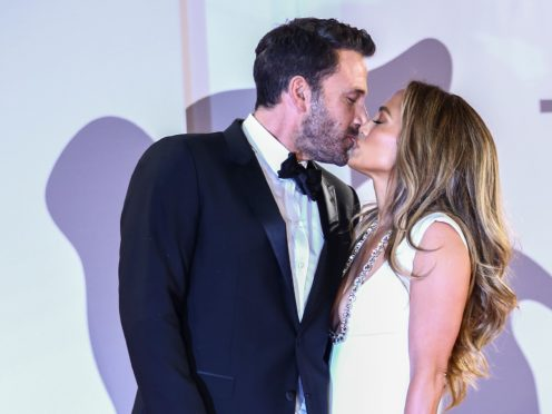 Jennifer Lopez and Ben Affleck at the premiere of the film The Last Duel (Joel C Ryan/Invision/AP)