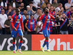 Crystal Palace's Odsonne Edouard (right) celebrates his first goal for the club (Adam Davy/PA)