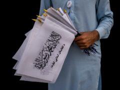 Taliban flags (Bernat Armangue/AP)