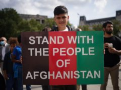People at an Afghan solidarity rally in Trafalgar Square, London, to oppose the Taliban and show that Britain stands with Afghanistan and supports the resistance to the Taliban. (Yui Mok/PA)