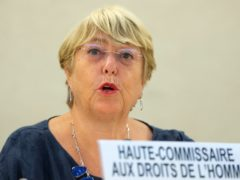 Michelle Bachelet addresses her statement, during the 48th session of the Human Rights Council, at the European headquarters of the United Nation, in Geneva, Switzerland (Salvatore Di Nolfi/AP)