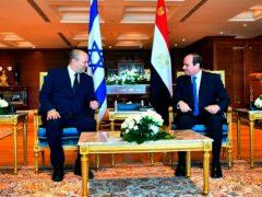 Egyptian President Abdel-Fattah el-Sissi meets with Israeli Prime Minister Naftali Bennett in the Red Sea resort of Sharm el-Sheikh (Egyptian Presidency Media office via AP)