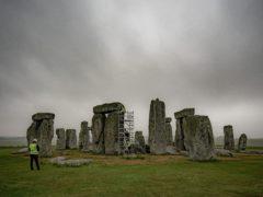 Scaffolding has been erected inside at Stonehenge so specialist contractors can repair defects (Ben Birchall/PA)