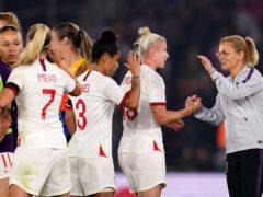 England boss Sarina Wiegman with Bethany England and Nikita Parris at full-time (John Walton/PA)