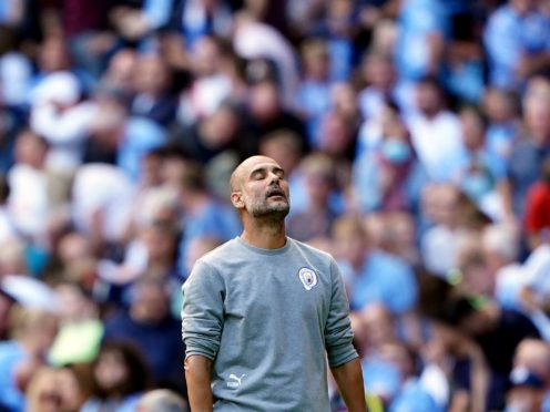 Manchester City manager Pep Guardiola watches on frustrated (Zac Goodwin/PA)