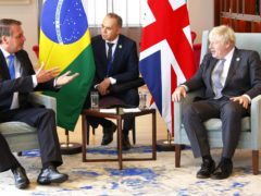 Prime Minister Boris Johnson greeted Brazil health minister Marcelo Queiroga before talks with country president Jair Bolsonaro in New York (Michael M Santiago/PA)