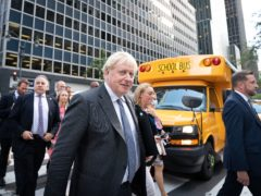 Prime Minister Boris Johnson walks to a television interview in New York whilst attending the United Nations General Assembly during his visit to the United States. Picture date: Monday September 20, 2021.