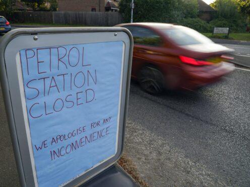 A closed Tesco petrol station in Bracknell, Berkshire (Steve Parsons/PA)