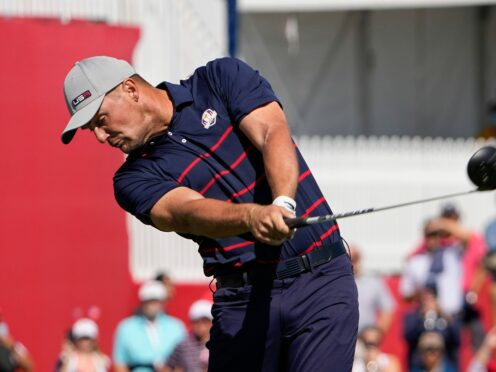 Bryson DeChambeau hits a drive on the second hole during a fourball match in the 43rd Ryder Cup (Jeff Roberson/AP)
