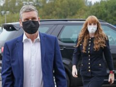 Sir Keir Starmer and Angela Rayner arrive at engineering firm Ricardo ahead of the Labour conference (Stefan Rousseau/PA)