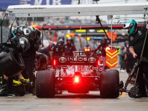 British driver Lewis Hamilton in the pits during qualifying (Yuri Kochetkov/AP)