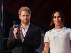 Prince Harry and Meghan Markle, Duke and Duchess of Sussex speak during the Global Citizen festival, Saturday, Sept. 25, 2021 in New York. (AP Photo/Stefan Jeremiah)
