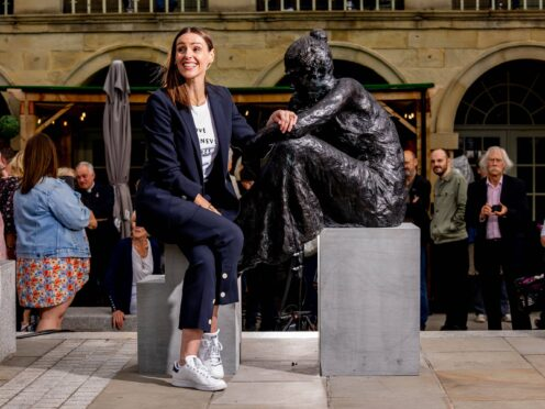 Suranne Jones unveiling a statue at the Piece Hall in Halifax of Anne Lister (Charlotte Graham/PA)