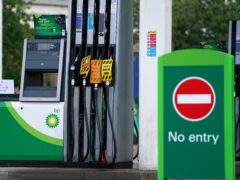 A sign on fuel pumps showing no fuel available at a BP petrol station in Grangemouth (Andrew Milligan/PA)