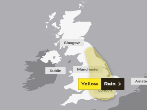 A yellow weather warning has been put in place for England for Sunday (Met Office/PA)
