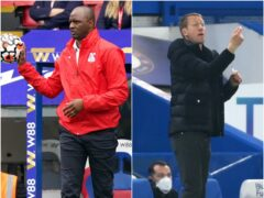 Crystal Palace boss Patrick Vieira will face Brighton manager Graham Potter for the first time on Monday (Dominic Lipinski/Mike Hewitt/PA)